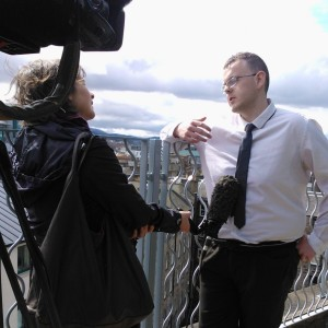 Ian Lamond being interview by the BBC