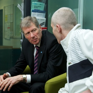 Cabinet Secretary for Justice, Kenny MacAskill speaking with service user Brian at the official launch of the HMP Low Moss Public Social Partnership (PSP)