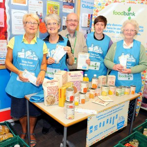 Falkirk Food Bank volunteers: Pat Paterson, Maralyn Stirling, Alf Collington, Chelsea Paterson and May Angus. Picture Michael Gillen. REDDING. Tesco. Foodbank Collection. Pat Paterson, Maralyn Stirling, Alf Collington, Chelsea Paterson and May Angus. Photograph courtesy of Falkirk Herald