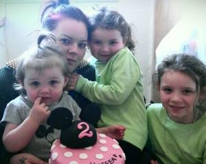 Kellie with her daughters Kaseea  Kerris and Kara