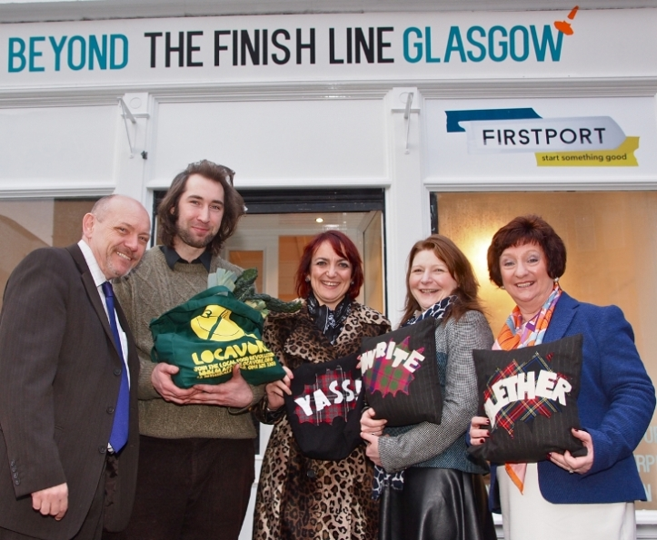 L to R Martin Dorchester of First Port, Reuben Chesters of Locavore, Angela Constance MSP, Dawn Barrett of Impact Arts, Liz Cameron of teh Big Lottery Fund