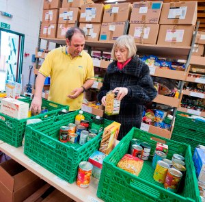 Falkirk food bank volunteer, Jason Walton and Big Lottery Fund Scotland Chair, Maureen McGinn and