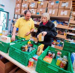 Falkirk food bank volunteer, Jason Walton and Big Lottery Fund Scotland Chair, Maureen McGinn and