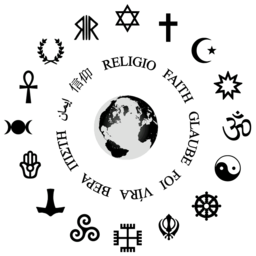 By ReligijneSymbole.svg: Szczepan1990 Pagan_religions_symbols.png: *Triskele-Symbol1.svg:Dariusofthedark at en.wikipedia Heathenism_symbol.PNG: Nyo Hellenism_SYMBOL.png: Iyyo Ankh.svg: AmosWolfe HandsGod.svg: AnonMoos Roman_Way_to_the_Gods_SYMBOL.png: Iyyo Triple-Goddess-Waxing-Full-Waning-Symbol-filled.png: AnonMoos Emb-37.svg:Theone256 at en.wikipedia CadishismPalm.svg: Original PNG version: Nyo - SVG version: Amakukha Hamsa.svg: Frater5 Continents_from_globe.png: The Transhumanist  derivative-compile work: Niusereset [CC-BY-SA-3.0 (http://creativecommons.org/licenses/by-sa/3.0)], from Wikimedia Commons