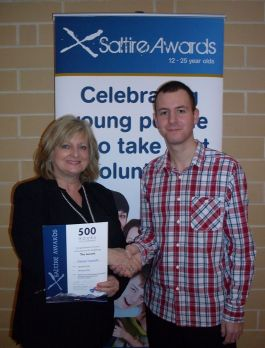Patryk receiving Saltire Award