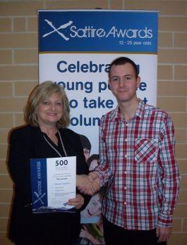 Patryk receiving Saltire Award