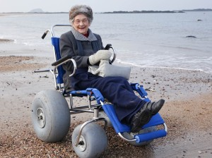 Audrey Jones (aged 89) from North Berwick, trying out a beach wheelchair