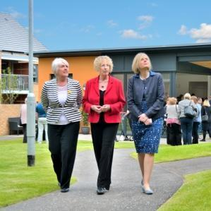left to right - Cathy Garner, Chair Castle Rock Edinvar, Maureen McGinn and Margaret Burgess MSP