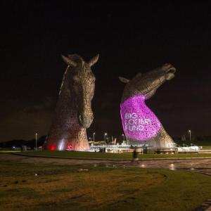Floodlit Kelpies at the £25 million Helix Project, Big Lottery funded