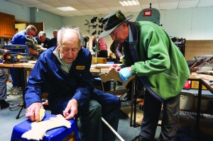 Members of the Carse of Gowrie and District Men's Shed learning new crafts and skills.