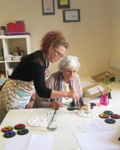 An art class for dementia sufferers run by the Little Art School Trust in South Ayrshire.
