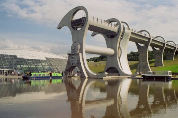 A photo of the Falkirk Wheel from across the water.