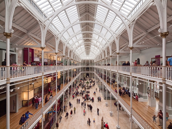 A shot of the light-filled atrium of the Grand Gallery that houses the UK's single largest museum installation, the Window on the World: a four-storey, 18-metre high display of more than 800 objects.