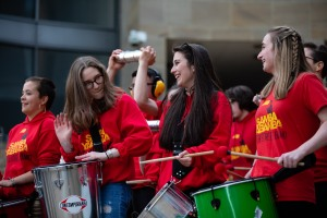 Four young women playing steel drums and having fun
