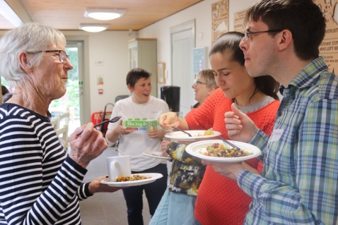 Edinburgh Garden Partners staff and volunteers having lunch