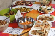 Dishes of food on a table
