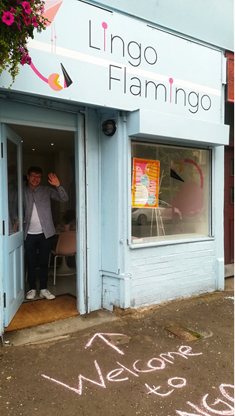 The colourful exterior of Lingo Flamingo's premises