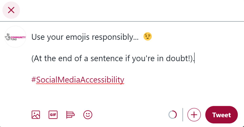 A tweet that says 'Use your emojis responsibly, at the end of a sentence if you're in doubt).
