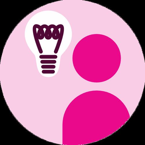 Person with a lightbulb idea