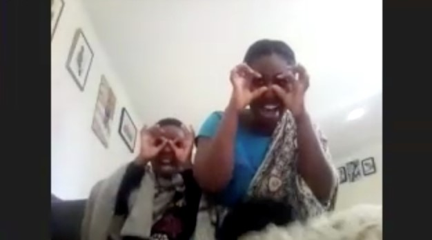 Screenshot of Boatemaa and Emmanuel making funny faces on a video call
